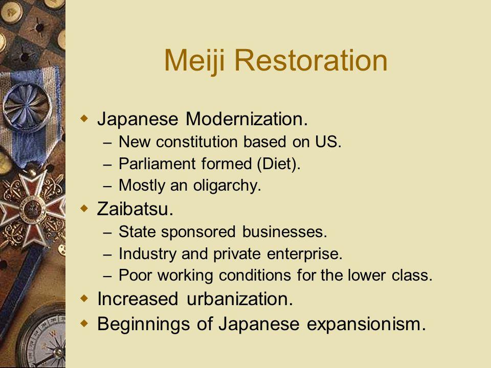 Meiji Restoration Japanese Modernization. Zaibatsu.