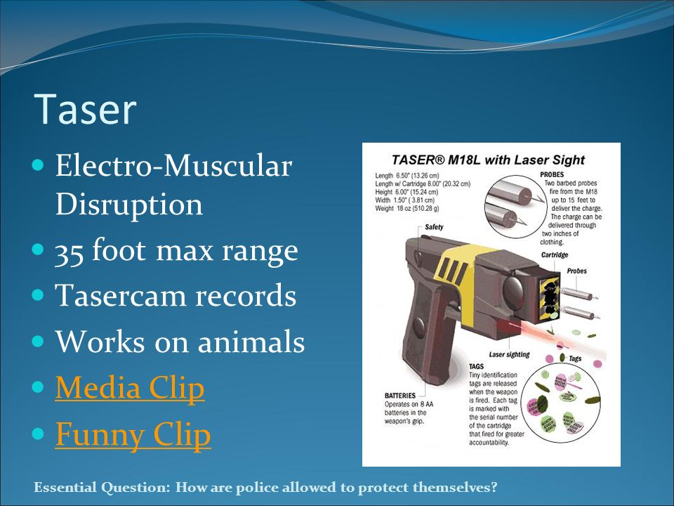 Taser Funny Clip Electro-Muscular Disruption 35 foot max range