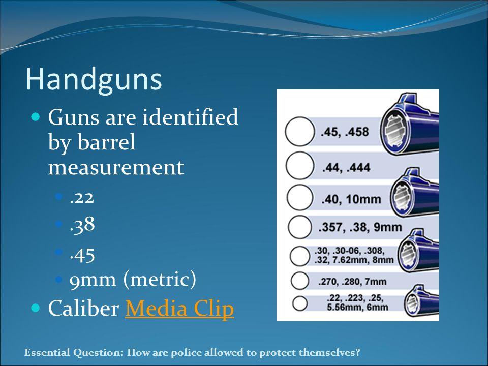 Handguns Guns are identified by barrel measurement Caliber Media Clip