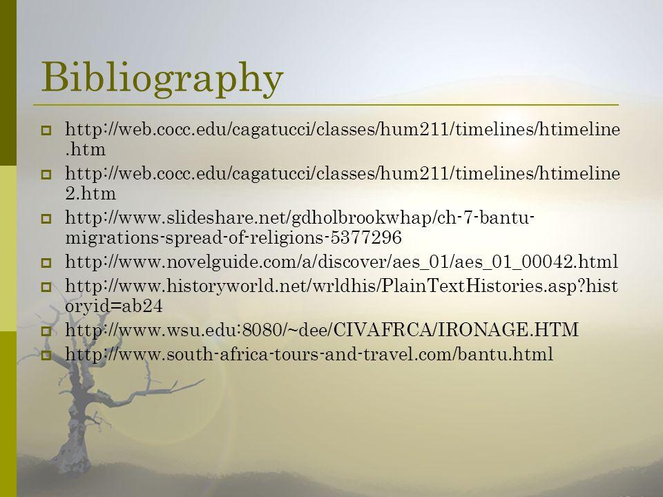 Bibliography http://web.cocc.edu/cagatucci/classes/hum211/timelines/htimeline.htm.