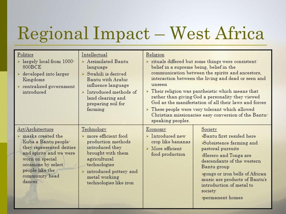 Regional Impact – West Africa