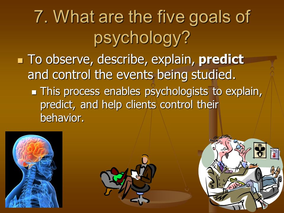 psychology example with describe explain predict and control Chapter 7 - learning (7-9%) predict the effects of operant conditioning apply learning principles to explain emotional learning, taste aversion, superstitious behavior, and learned helplessness suggest how behavior modification.