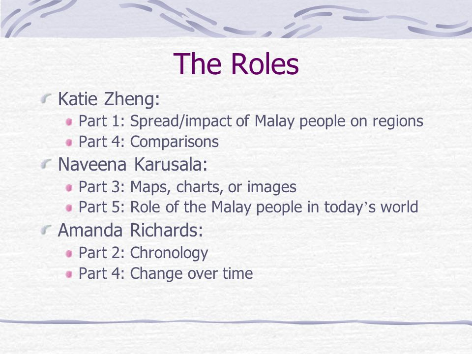 The Roles Katie Zheng: Naveena Karusala: Amanda Richards: