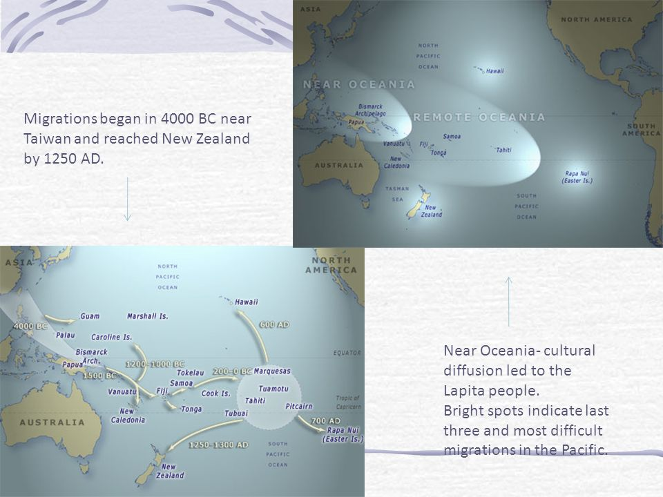Migrations began in 4000 BC near Taiwan and reached New Zealand by 1250 AD.