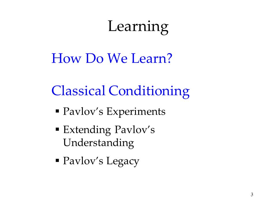 Learning How Do We Learn Classical Conditioning Pavlov's Experiments