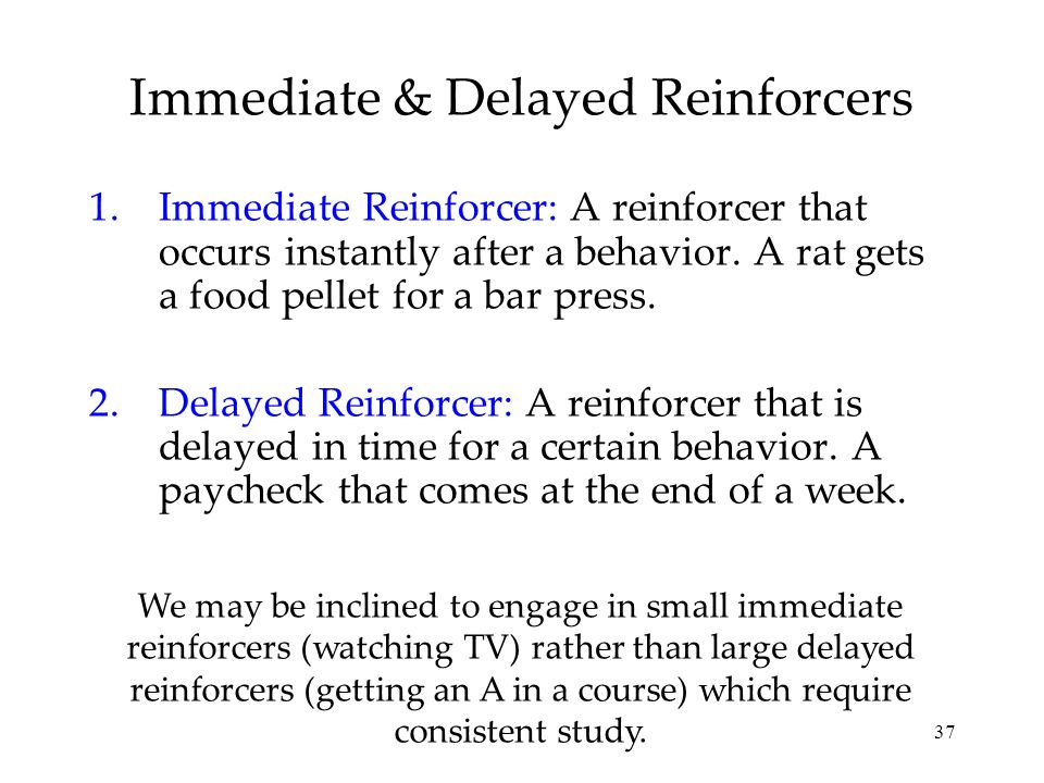Immediate & Delayed Reinforcers