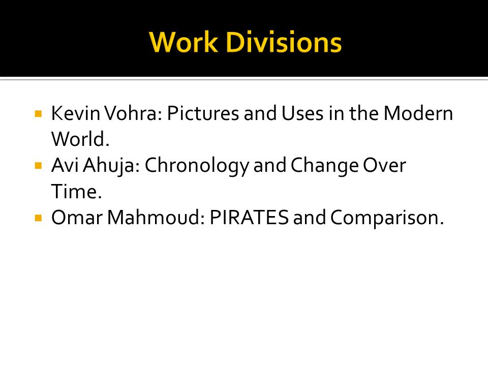 Work Divisions Kevin Vohra: Pictures and Uses in the Modern World.