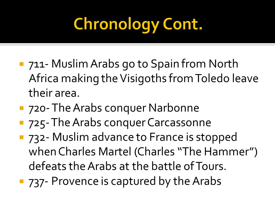Chronology Cont. 711- Muslim Arabs go to Spain from North Africa making the Visigoths from Toledo leave their area.