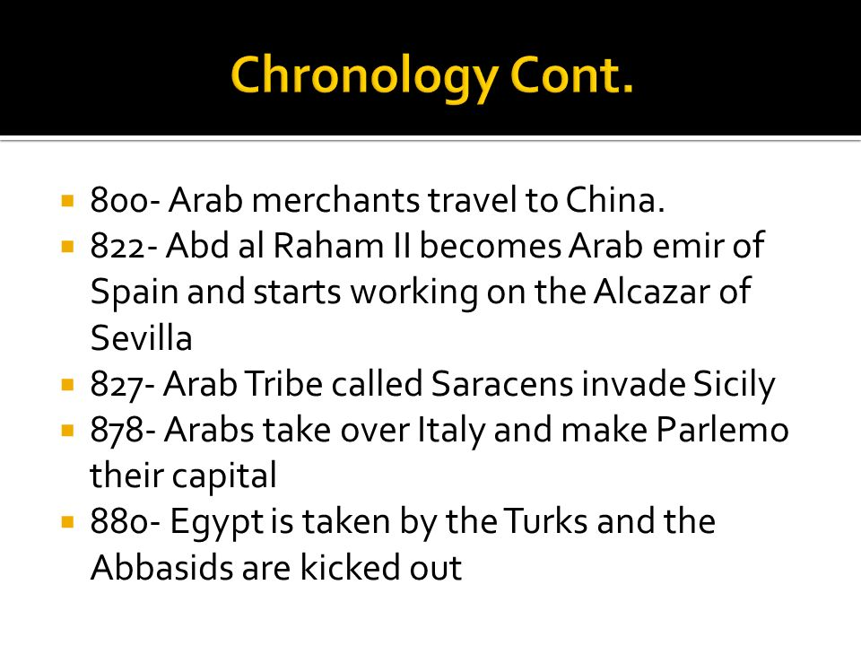 Chronology Cont. 800- Arab merchants travel to China.