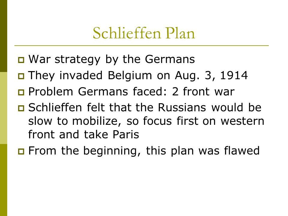 Schlieffen Plan War strategy by the Germans