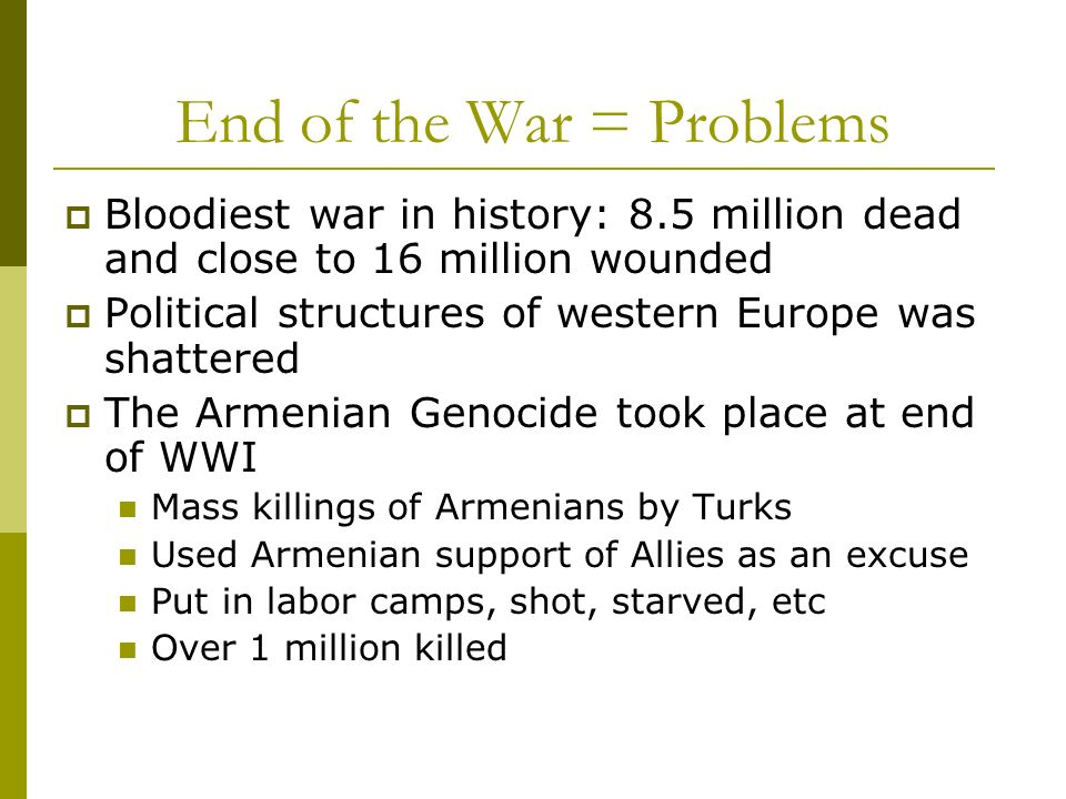 End of the War = Problems