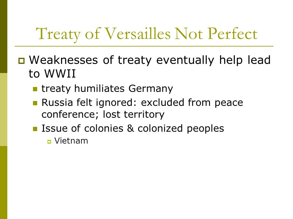 Treaty of Versailles Not Perfect