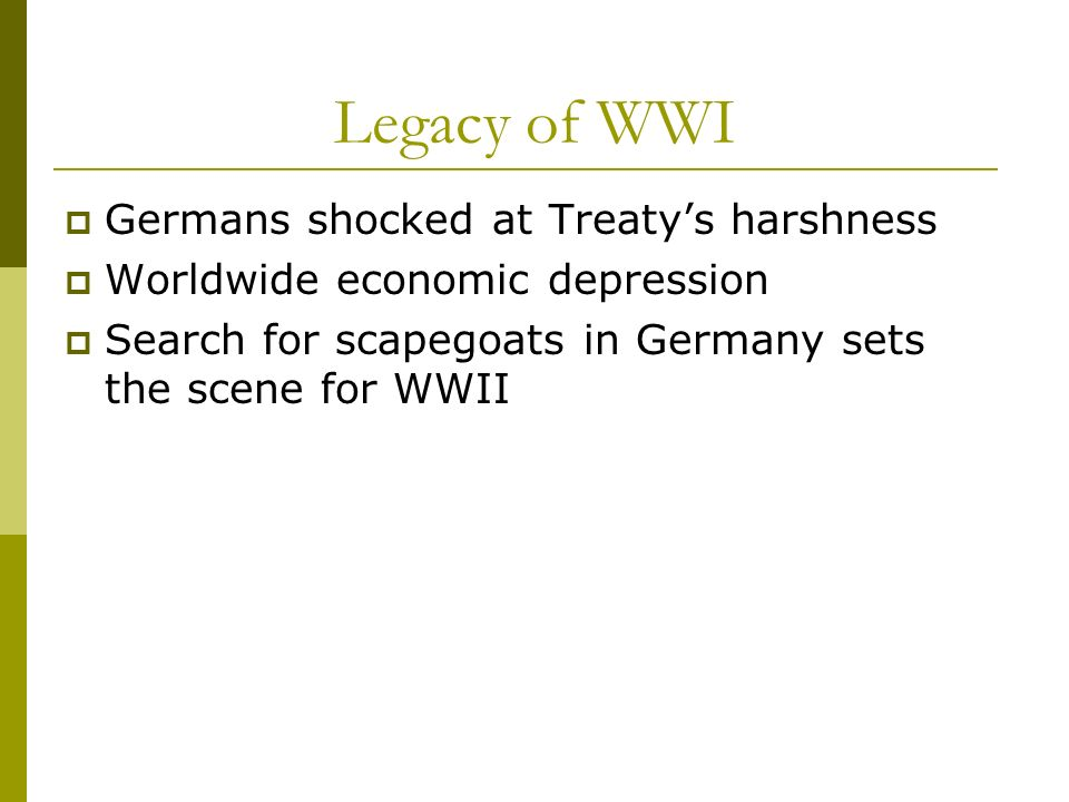 Legacy of WWI Germans shocked at Treaty's harshness