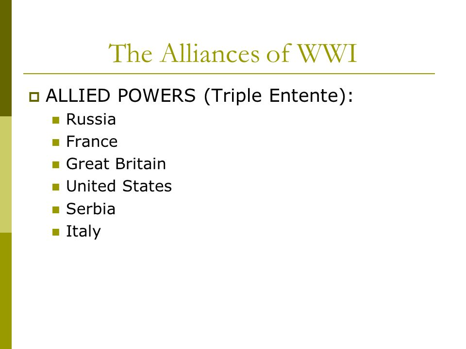 The Alliances of WWI ALLIED POWERS (Triple Entente): Russia France