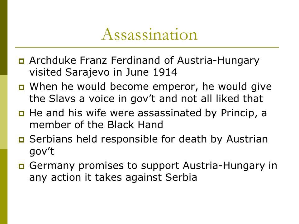 Assassination Archduke Franz Ferdinand of Austria-Hungary visited Sarajevo in June 1914.