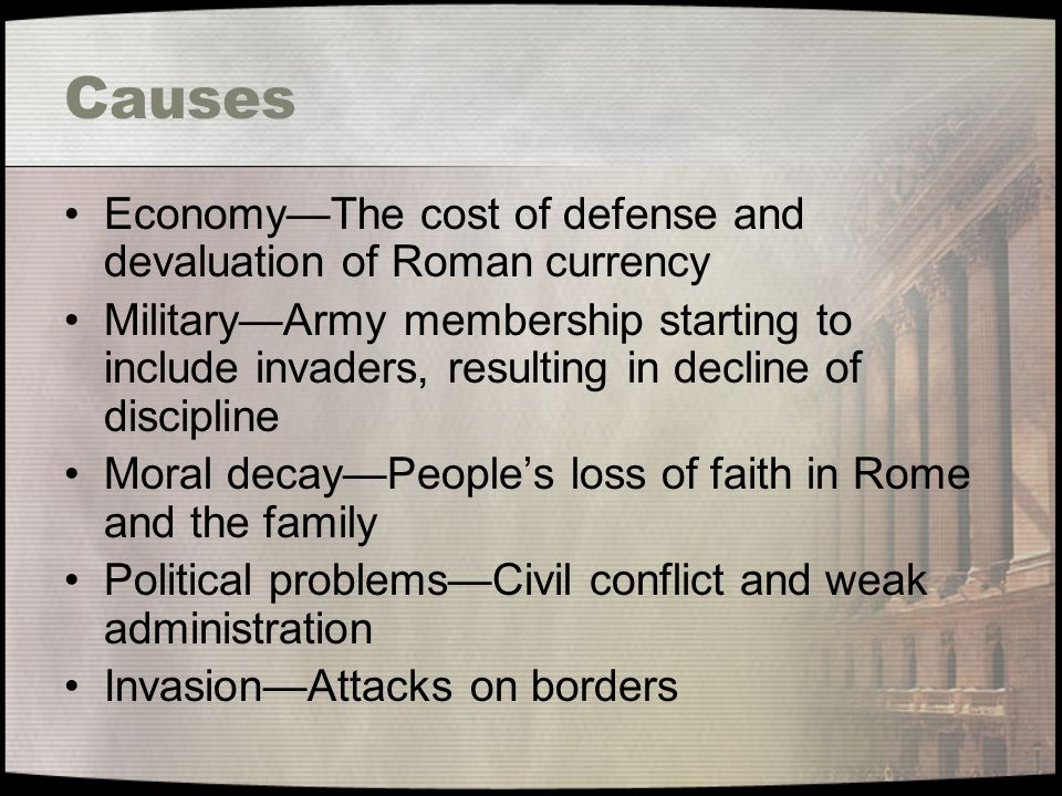 """political decay in rome Moscow, to western eyes, does not look much like rome  responsible for the  collapse of rome: """"declining moral values and political civility at."""