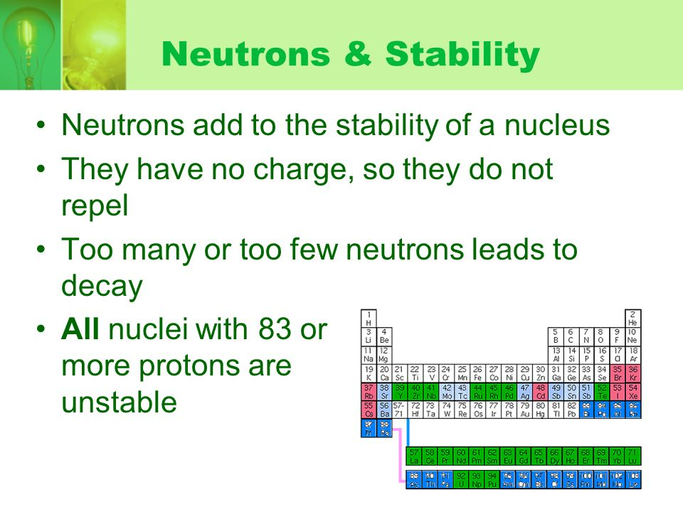 Neutrons & Stability Neutrons add to the stability of a nucleus