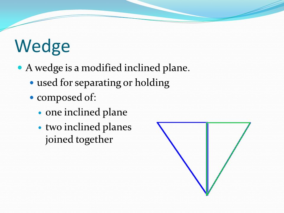 Wedge A wedge is a modified inclined plane.
