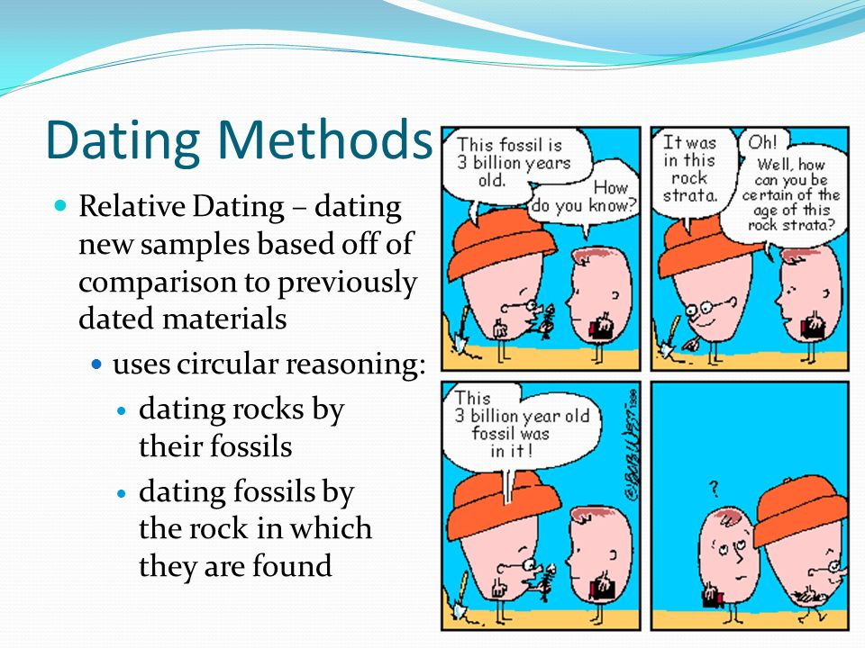 Dating Methods Relative Dating – dating new samples based off of comparison to previously dated materials.