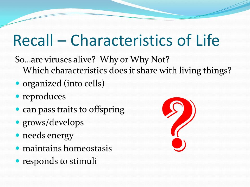 Recall – Characteristics of Life