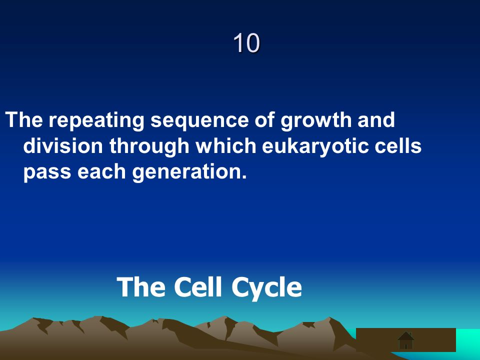 10The repeating sequence of growth and division through which eukaryotic cells pass each generation.