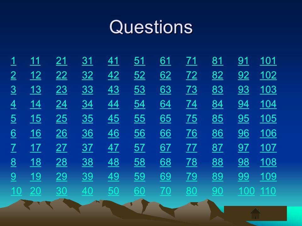 Questions 1. 2. 3. 4. 5. 6. 7. 8. 9. 10. 11. 12. 13. 14. 15. 16. 17. 18. 19. 20.