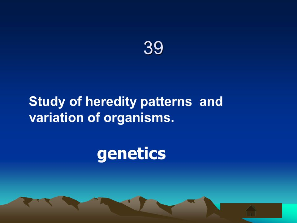 39 Study of heredity patterns and variation of organisms. genetics