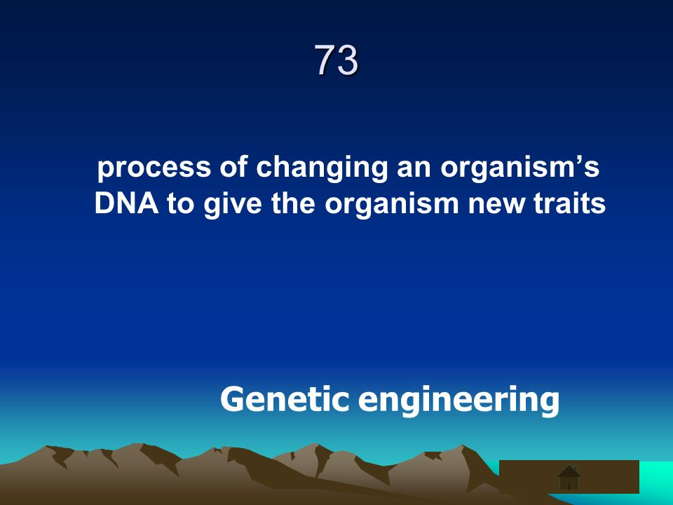 73 process of changing an organism's DNA to give the organism new traits Genetic engineering