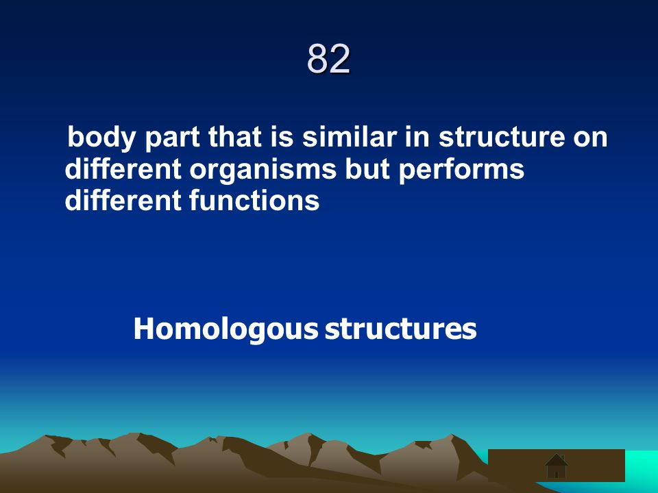82body part that is similar in structure on different organisms but performs different functions.