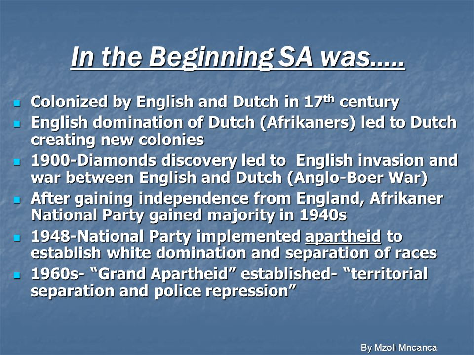 In the Beginning SA was…..