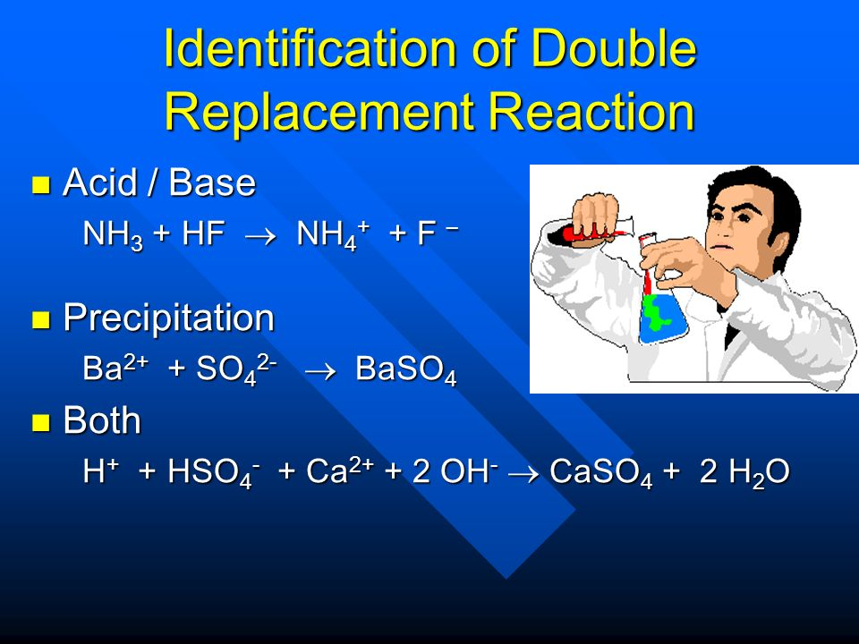 Identification of Double Replacement Reaction
