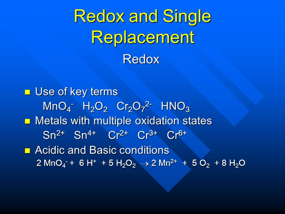 Redox and Single Replacement