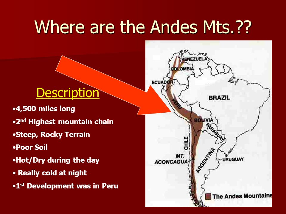 Where are the Andes Mts. Description 4,500 miles long