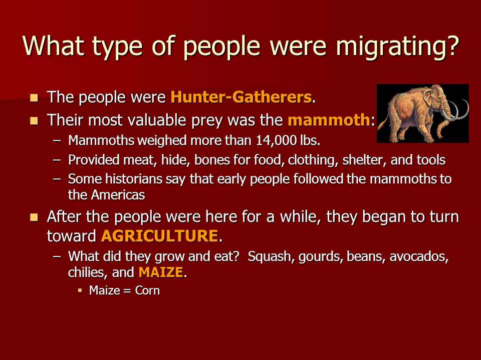 What type of people were migrating