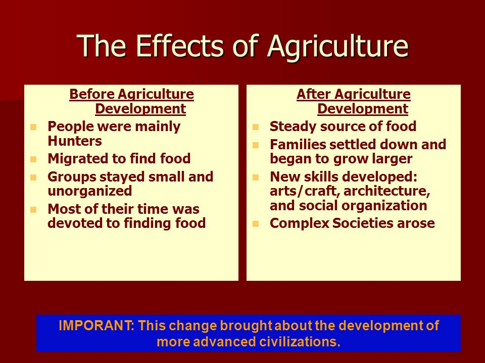 The Effects of Agriculture