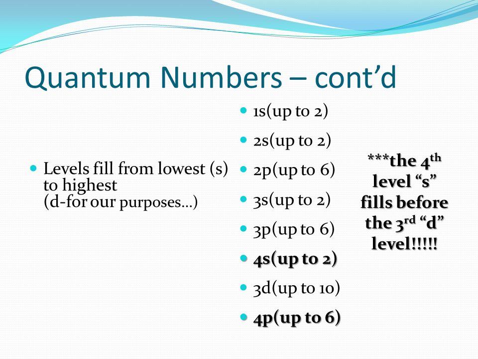 Quantum Numbers – cont'd