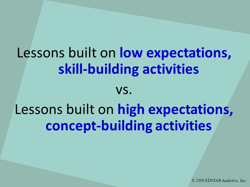 Lessons built on low expectations, skill-building activities vs.