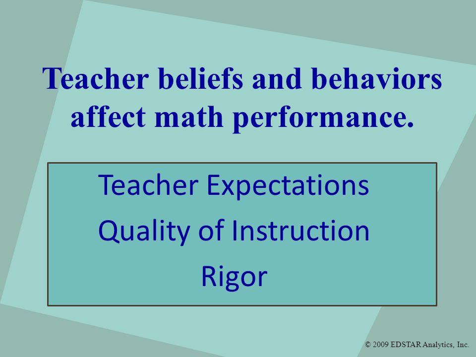 Teacher beliefs and behaviors affect math performance.