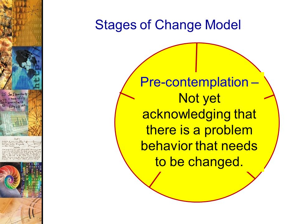 Stages of Change Model Pre-contemplation – Not yet acknowledging that there is a problem behavior that needs to be changed.