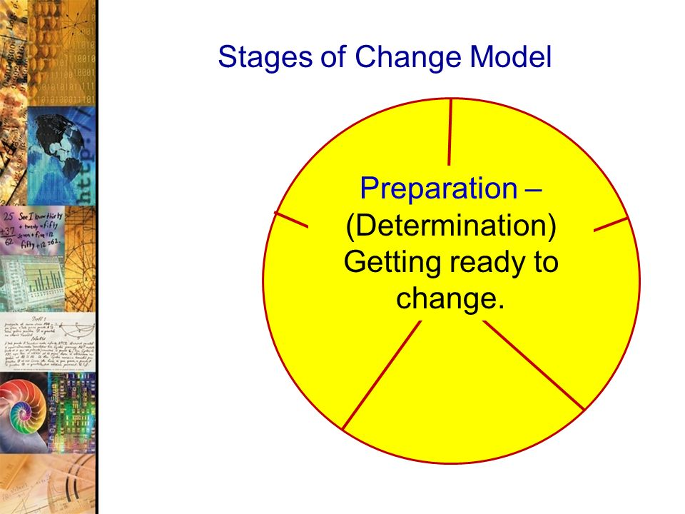 Preparation – (Determination) Getting ready to change.