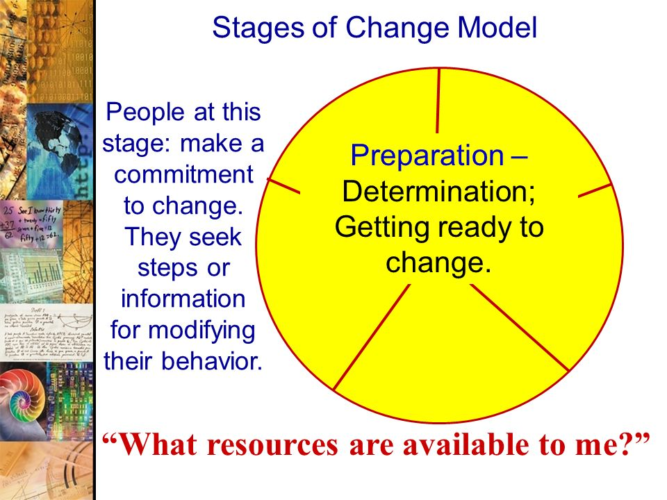 Preparation – Determination; Getting ready to change.