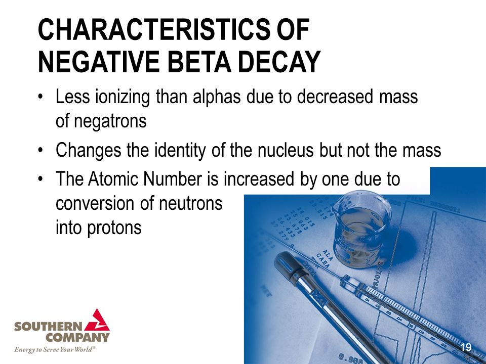 CHARACTERISTICS OF NEGATIVE BETA DECAY