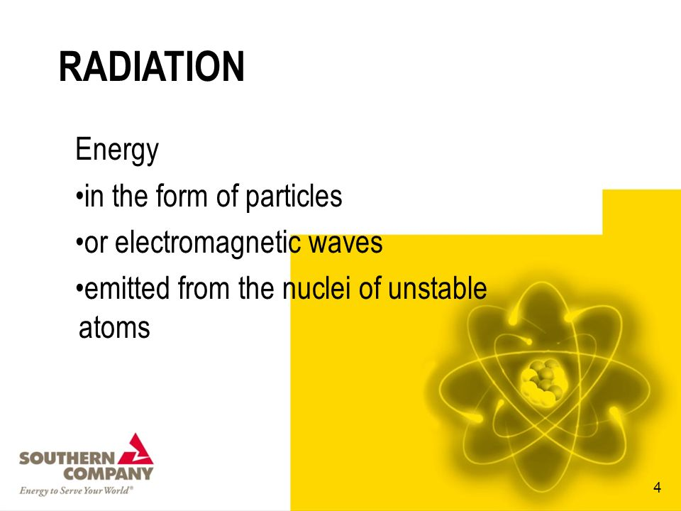 RADIATION Energy in the form of particles or electromagnetic waves