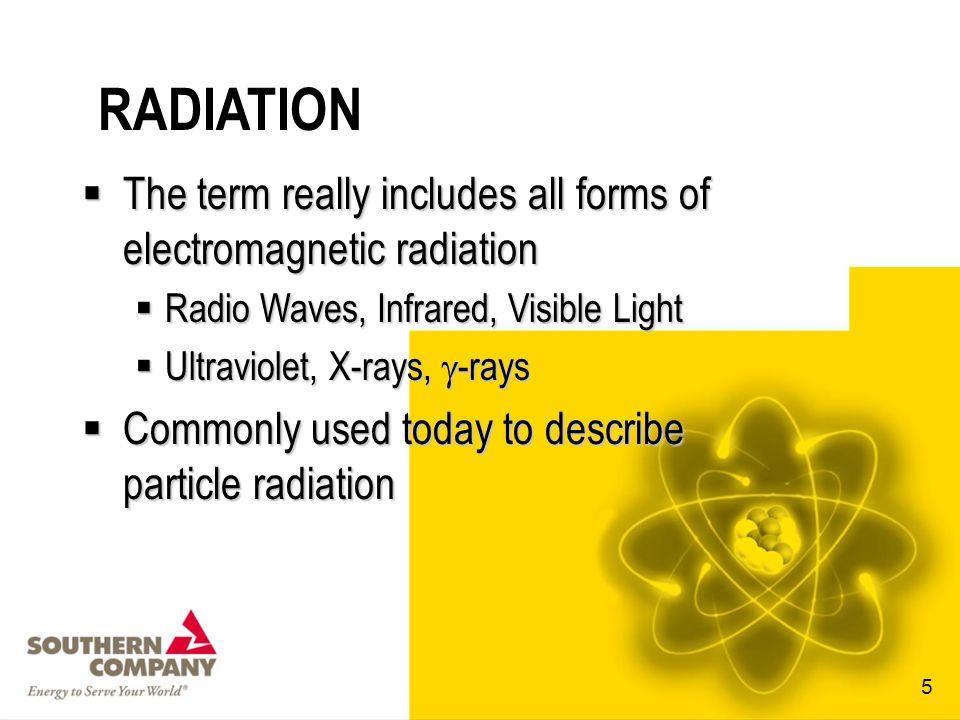 RADIATION The term really includes all forms of electromagnetic radiation. Radio Waves, Infrared, Visible Light.