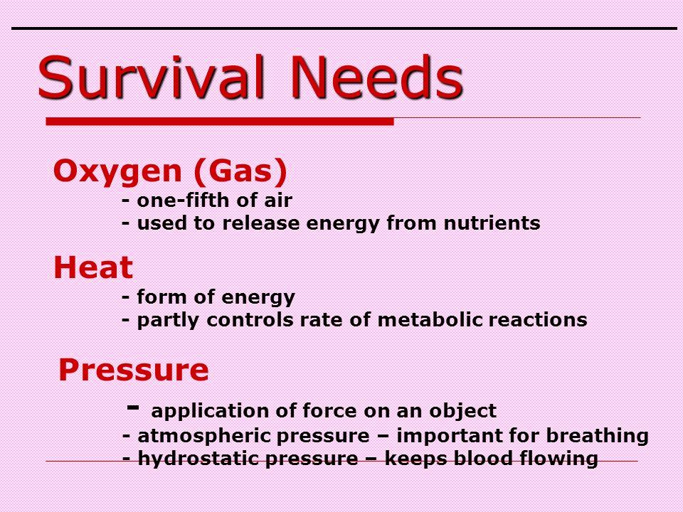 Survival Needs Oxygen (Gas) Heat Pressure
