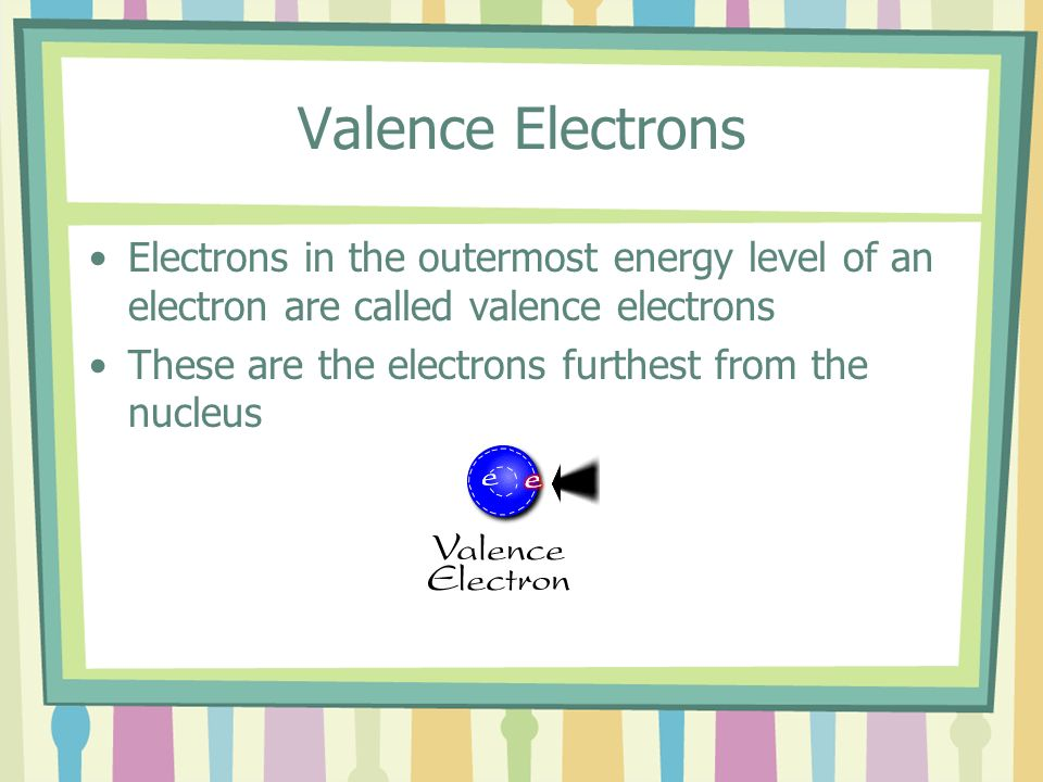 Valence Electrons Electrons in the outermost energy level of an electron are called valence electrons.