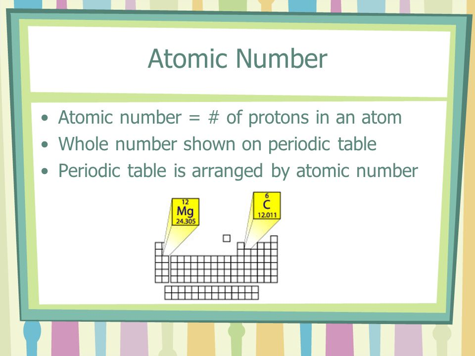 Atomic Number Atomic number = # of protons in an atom