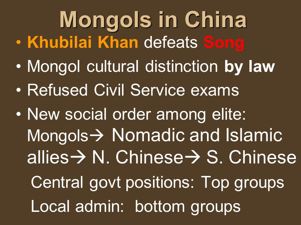 Mongols in China Khubilai Khan defeats Song
