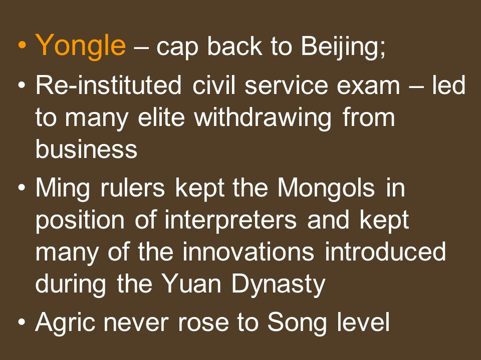 Yongle – cap back to Beijing;