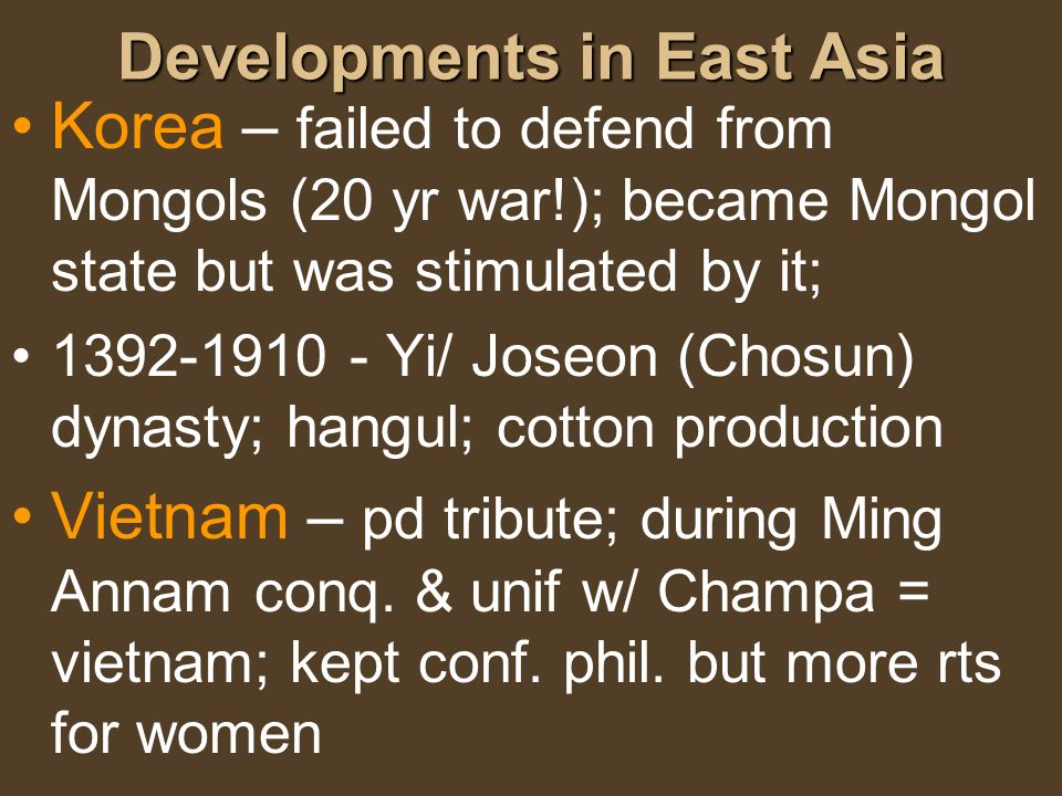 Developments in East Asia
